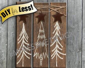 Rustic Home Decor Tree Vinyl Decals or Stencil Farmhouse Decor Country Decor Cottage Decor Primitive Decor Sign Set of 3 DIY