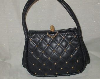 chanel inspired bags. true vintage 1950s koret chanel inspired leather quilted gold stud handbag purse navy inspiring bags e