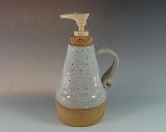 Handmade Pottery Soap/Lotion Dispenser, white glaze