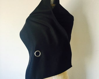 winter sale, black wool scarf, edgy scarves, winter accessories, holiday gifts