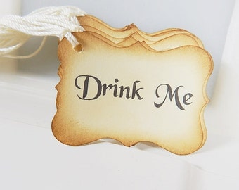 Drink me Tags / Eat Me Tags / Take Me Tags / Vintage Look, Party Favor Tags, Treat Bag Tags, Wedding Tags, Set of 25