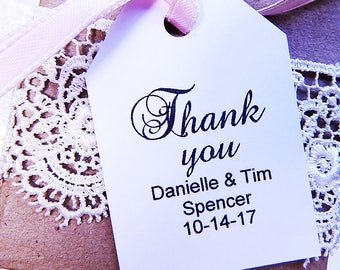 Personalized Wedding Thank You Tags for Bridal Shower Wedding Favors