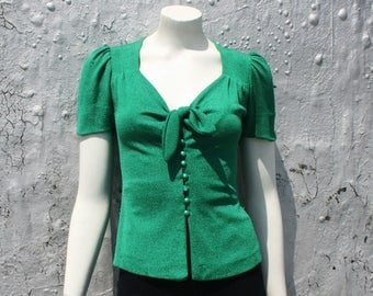 1970s Glam Lurex Top / Biba 1940s Style Green Button Front Pinup Blouse / Sweetheart Neckline Shirt / Rock N Roll Style / Size XS S M