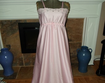 Vintage Odette Barsa Pink Long Nightgown small silky vintage Lingerie