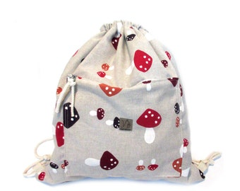 mushroom backpack cotton linen