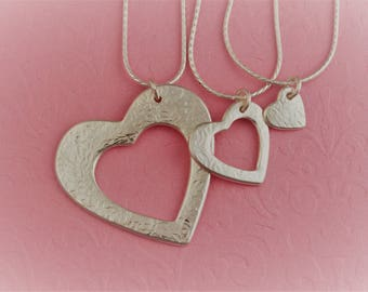 "Grandmother, Mother and Daughter/Grand Daughter ""Generations"" Necklace - Hearts - Fine Silver - Mothers Day - ME Designs"