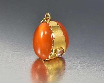 Vintage 18K Gold Italian Bracelet Charm Pendant Fob, Carnelian Pendant, Amethyst Necklace Pendant