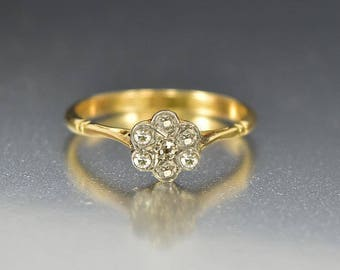 Diamond Art Deco Engagement Ring, 18K Gold Antique Diamond Ring, Pansy Diamond Cluster Ring, European Platinum Star Ring