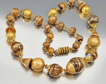 Vintage Czech Glass Bead Necklace, Gold Bead Choker, Art Deco 1920s Antique Jewelry, Root Beer Brown Swirl Beaded Necklace