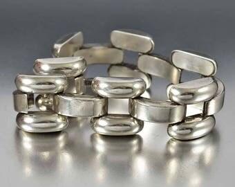 Art Deco Silver Panther Link Bracelet, Austria Hungary Bracelet, Art Deco Bracelet, Retro Modern Bracelet, Arched Link Antique Bracelet