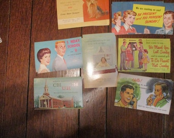 "21 Vintage ""We Missed You in Sunday School"" Postcards, 1950's"