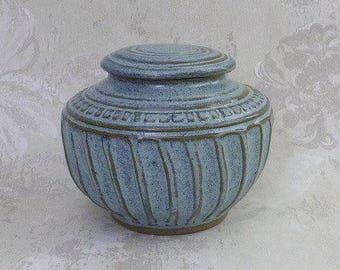Decorative Speckled Aqua Pet Urn or Vase
