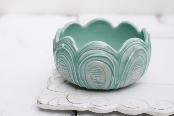 aqua porcelain flower bowl