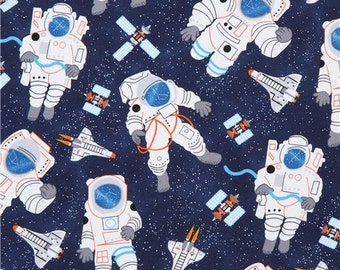 213264 navy blue with astronaut rocket satellite fabric Timeless Treasures