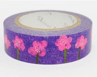 210709 purple with pink flower Washi Masking Tape deco tape Shinzi Katoh