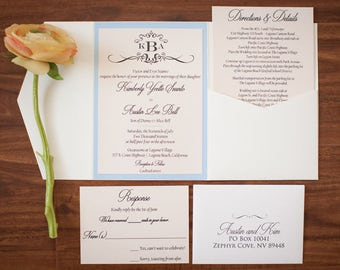 Blush and Wedgewood Blue Wedding Invitation Suite.  Blush Wedding Invitation.
