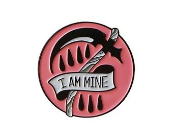 "Pink ""I Am Mine"" Enamel Pin. Morrissey lyrics and reaper sickle design!"