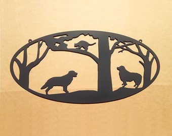 Dogs Chase a Cat into a Tree Metal Wall Art (D27)