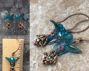 Gossamer Hummingbird Handblown Glass Earrings, Ready to Ship, Made in America