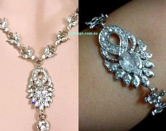 Art Deco Wedding Jewelry Set, Art Nouveau Wedding Necklace, Crystal Bridal Bracelet, Cz Bridal Necklace, Silver Bridal Jewelry, EMPIRES C