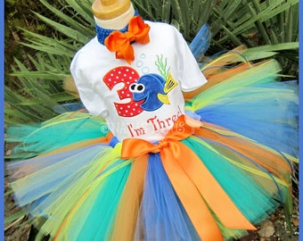 3yrs, Ready to Ship, Dory with Number 3, Party Outfit, Theme Party, Tutu Set, Birthday Outfit, 3rd Birthday