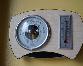 mid century thermometer barometer home decor wall hanging formica vintage 1950s 50s 1960s 60s