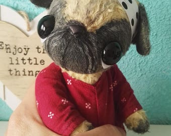 Artist bear pug  available immediately by Sylvie Touzard