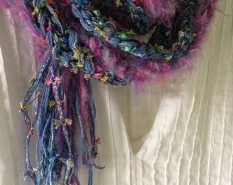 Crochet scarf, women's sparkly long chunky fuzzy knit fashion, blue purple pink lavender, girl's winter cotton blend Lhasa i459