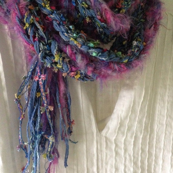 Crochet scarf, women's sparkly long chunky fuzzy knit fashion, blue purple pink lavender, girl's teen's winter cotton blend i459