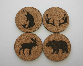 Wildlife Cork Coasters Set of 4 Coasters Etched Cork Bear Antlers Moose Fish Animals