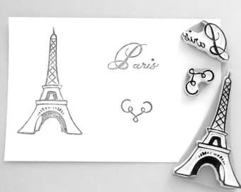 Paris themed stamp- set of 3