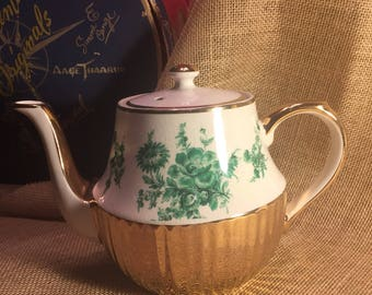 Arthur Woods teapot with green flowers and gold trim