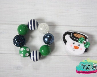 Christmas baby Hair Clippie or bracelet { Snowman Cocoa Bracelet Clippie }  Navy blue green Snowman, Hair Clip, Barette, Hair Bow No Slip