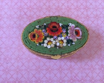 Vintage Italian Murano Glass Mirco Mosaic PILL BOX Art Deco Art Nouveau Beautiful jewelry stocking stuffer