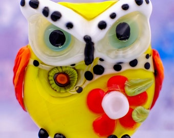 Lilleth....... lampwork owl bead