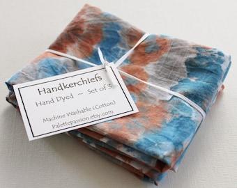 Hand Dyed Handkerchiefs - Mens Cotton Hankies - Set of 3 - Orange Rust Navy Blue Gray Grey Silver White Tie Dye Handkerchief Pocket Square