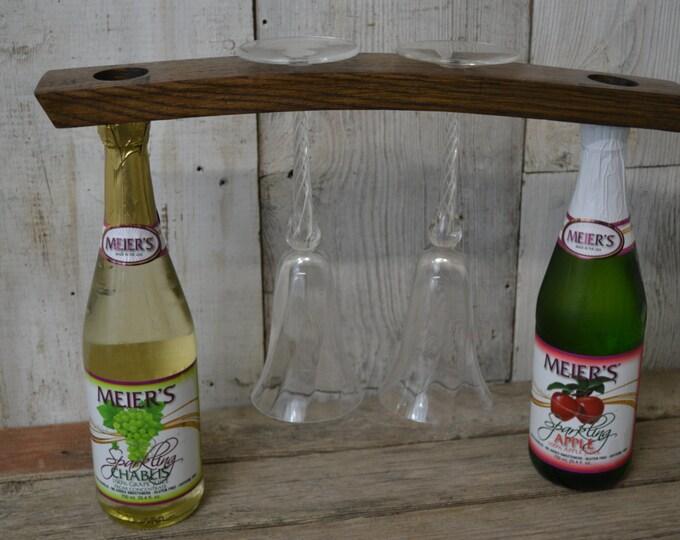 Wine Rack, Wine Glass Holder, Wine Barrel Stave Rack, Hanging Wire Rack on Staves, Dark Wood, Reclaimed