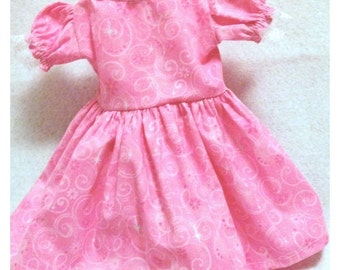 American Girl Dress, 18 inch doll dress,  pink print doll dress, doll clothes