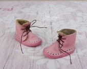 Just Pink -Real Leather boots for Blythe dolls (all bodies) and other similar size feet 1/6 BJD dolls