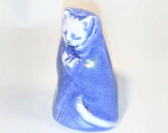 Blue Kitty Cat Porcelain Tiny Collectible Miniature Ceramic Jizo Folk Art Kitten Figurine Buddhist