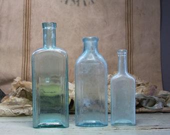 Seafoam Green Glass Antique BOTTLES (3) Instant Collection- Burnett Boston- Castoria Old Medicine Bottle- Angier's Emulsion- B31