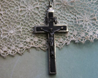 Wooden Crucifix from Germany- Religious Rosary Cross- Vintage Cross Pendant- Cross Ebony- Christianity First Communion
