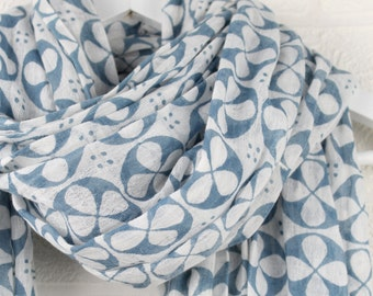 STUDIO SALE Geometric Large Blue Roundel Pattern Scarf Seconds