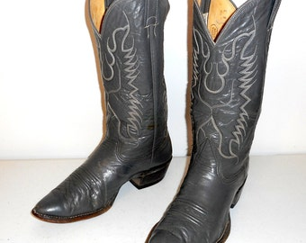Mens Size 8 D Cowboy Boots Grey Nocona Country Western Leather Shoes Vintage Urban