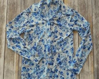 Vintage Blue Floral Polyester Shirt 60s 70s Flowers Boho Long Sleeve Retro Western