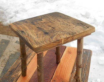 Plant Stand, Stool, Reclaimed Barn Wood with Stick Legs, Rustic eco friendly Furniture, wooden stand