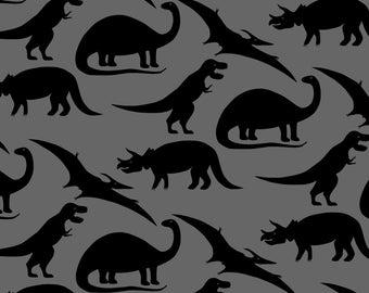 Dinosaur days fabric by the yard cream gray dino baby for Grey dinosaur fabric