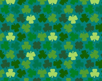 Lucky Clover Fabric - Lucky Four Leaf Clover - Teal By Coggon (Roz Robinson) - Green Clover Cotton Fabric By The Yard With Spoonflower