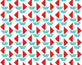 Abstract Boats Fabric - Little Red Boats Allover By Newmomdesigns - Geometric Summer Beach Boats Cotton Fabric By The Yard With Spoonflower