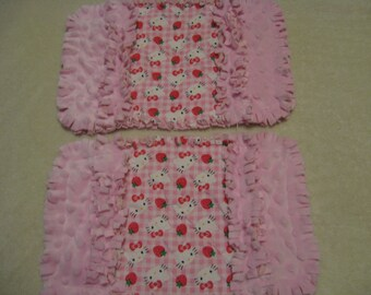 Hello Kitty burp cloth Baby Shower Gift Spit Rag Pink Baby Girl Burp Cloths with Minky backing